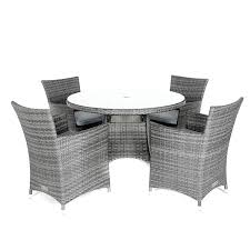 round table 4 chairs grey grey rattan weave