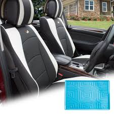 fh group black white pu leather front bucket seat cushion covers for auto car suv truck van with blue dash mat combo com