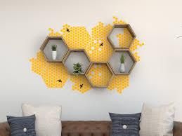 honeycomb hexagon shelf vinyl wall