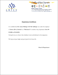 Examples Of Executive Resumes Experience Certificate Format In Word