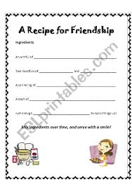 friendship recipe template. English worksheets A recipe for friendship