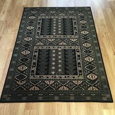 afghan turkman wool black gold rug 7901 black 135 x 190 cm