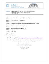 Staff Meeting Agenda Faculty And Staff Meetings UNC Gillings School Of Global Public 1