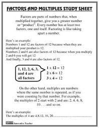 Factors and multiples, Study guides and Factors on PinterestFactors and Multiples Study Guide and Worksheet By Innovative Teacher