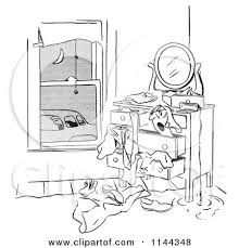 dresser clipart black and white. black and white man franticaly searching his dresser as car pool ride waits by picsburg clipart