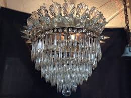 antique crystal waterfall chandelier marked czechoslovakia 1920s stunning free