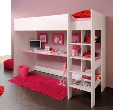 bedroom loft bed with desk underneath armless brown wooden chair red color bedding sheet frames storage
