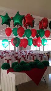 ceiling decor with helium star balloons for christmas party hall