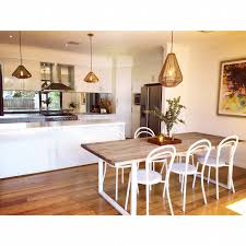 Copper Top Kitchen Table Teak Wood Dining Table White Powder Coated Legs White Steel