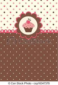 Background With Cupcake Cute Vector Background With Polka Dots