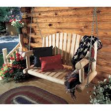 log cabin outdoor furniture patio. rustic natural cedar furniture american garden 5 ft log porch swing and stand set hayneedle cabin outdoor patio b