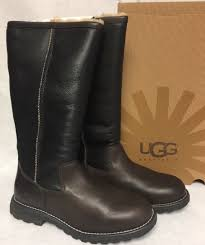 ugg australia brooks tall water resistant brown leather fur tall boots 5490 size