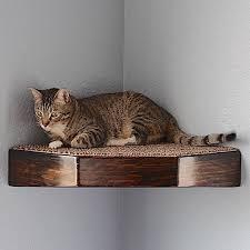 Corner Cat Shelves Corner Wall Shelf Floating Stained Wood Style 87
