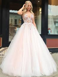 Light Pink And Light Blue Prom Dresses V Neck Tulle Lace Applique Light Pink Long Prom Dresses Light Pink Formal Dresses Evening Dresses