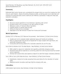 Resume Templates: Pest Control Worker
