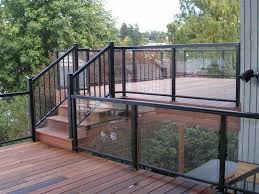 how to repairs glass railing systems for decks with black color glass deck railing