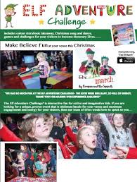 It features a formal layout design with a light grey patterned border. Christmas Kids Events Wonder Adventures