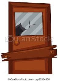 old door with broken gl csp50354536
