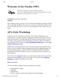 Welcome To The Purdue Owl Apa Style Workshop