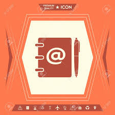 Notebook Address Phone Book With Email Symbol And Pen Icon Signs