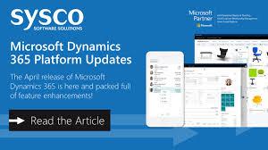 Sysco Menu Design Microsoft Dynamics 365 April 2019 Update Sysco Software