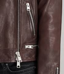 allsaints womens conroy leather biker coat oxblood red 5