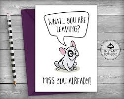 printable goodbye cards farewell card template coworker card funny miss you card retirement