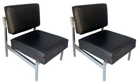knoll chairs vintage. Beautiful Chairs Florence Knoll Designed Slipper Chairs Seamless Brushed Stainless Steel  Frames Upholstered In A Black Naugahyde Fabric The Chairs Are Very Good Vintage  With Chairs Vintage S