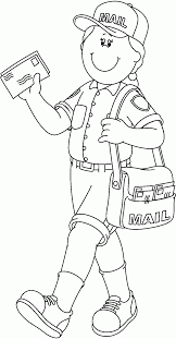 10 Pics Of Mailman Community Helper Coloring Pages Community