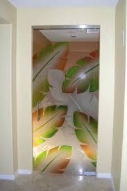 glass entry door banana leaves green