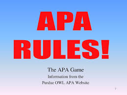The Apa Game Information From The Purdue Owl Apa Website Ppt Download