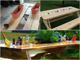 Diy patio table Glass Diy Cozy Home Build Patio Table With Builtin Drink Cooler