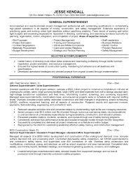 Superintendent Resume Examples Of Resumes Construction Templates For