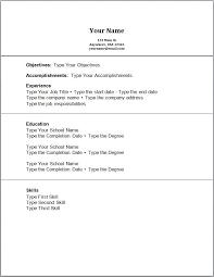 Basic Sample Resume For No Experience Resume Corner