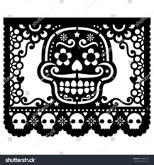 Papel Picado Designs For Day Of The Dead Mexican Sugar Skull Vector Paper Decorations Stock Vector