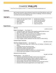 Computer Repair Sample Resume Beautiful Mechanic Resume Example