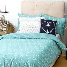 turquoise with white heart anchors duvet cover and pillow shams set blue striped canada navy