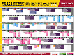 World Cup Planner Chart 2018 Wisden Wallchart All County International Fixtures For