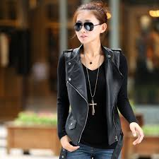 new fashion woman s pu leather vest female short sleeveless jacket motorcycle waistcoat slim s m l xl 2xl free q424