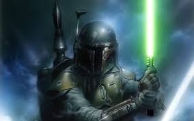 Jedi Light Boba Fett W Jedi Light Sabre Star Wars Wallpaper Boba