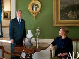 bush office. president and mrs bush in the green room office l