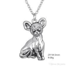 Dog Design Jewelry Wholesale Myshape New Design Wholesale Pet Dog Design Puppy Chihuahua Animal Pendant With Vintage Link Chain Necklace Fashion Jewelry Rose Pendant