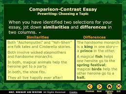 writing workshop expository writing comparison contrast essay  when you have identified two selections for your essay jot down similarities and differences in