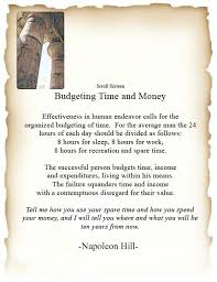 Scroll 16 - Budgeting Time and Money - | Napoleon hill, Napoleon hill  quotes, Think and grow rich