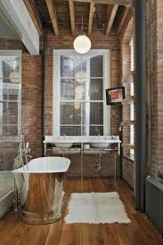 Bathroom: Simple Tiny Bathroom With Exposed Brick Walls - Brick Bathroom  Decor