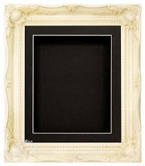 ivory cream swept ornate deep box frame 12x10 black 1 mount black back