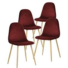 mid century modern dining chairs. greenforest dining chairs,elegant velvet back and cushion, mid century modern side chairs set r
