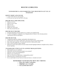 Resume Guidelines Resume Guidelines Letters Free Sample Letters 1
