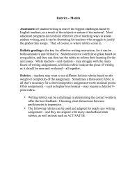 Writing Rubrics Contains 8 Separate Holistic Rubrics Ranging