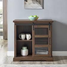 dark walnut sliding glass door accent cabinet